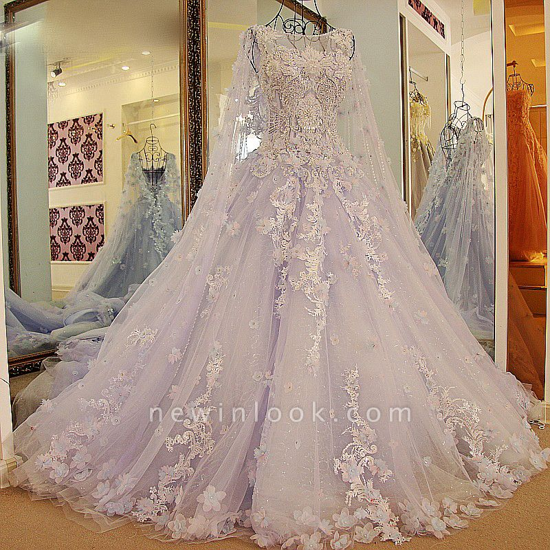 Tulle Appliques Jewel Sleeveless Quinceanera Dress