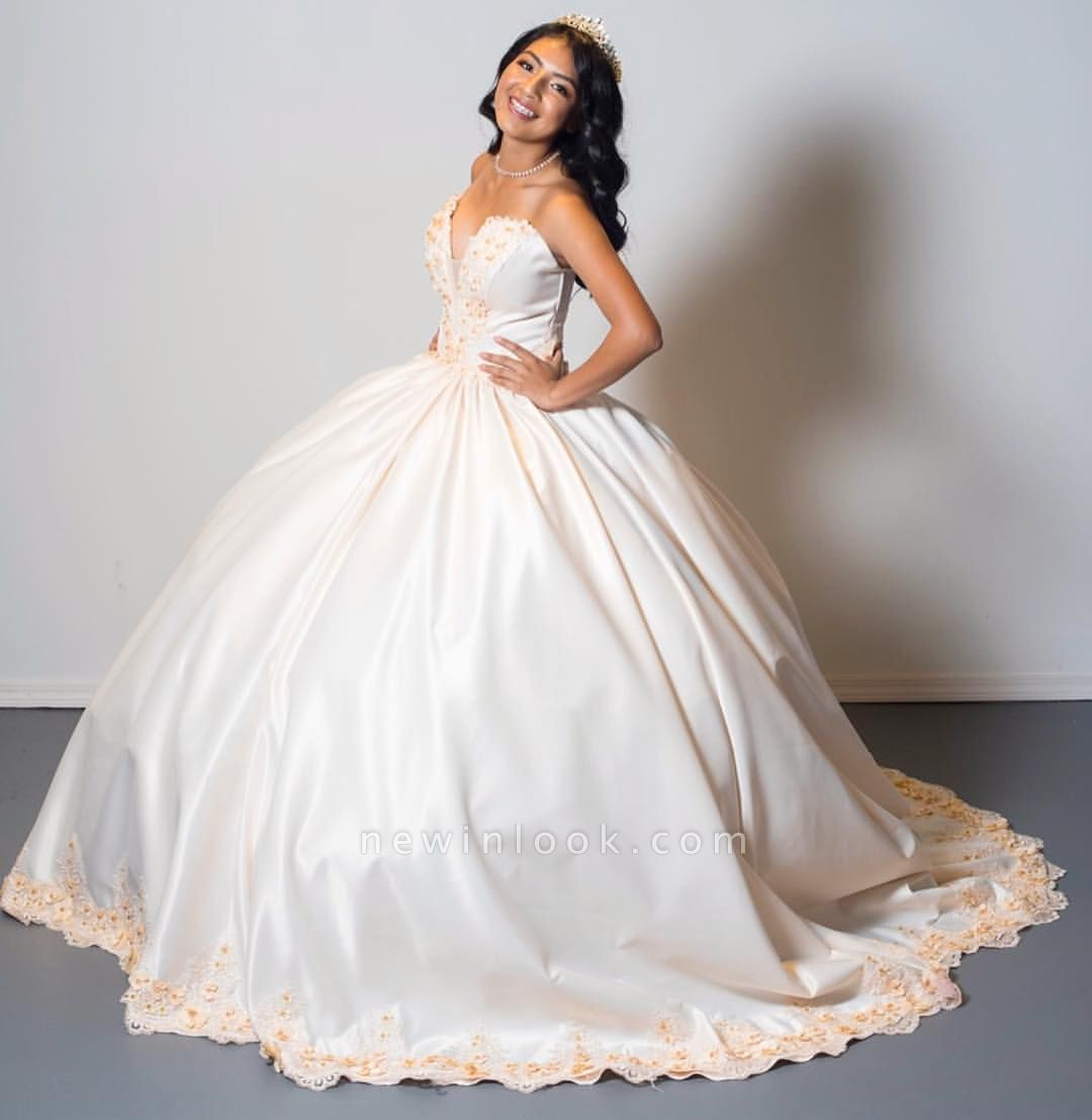 Attractive Strapless Sweetheart Sweet 16 Dresses | Appliques Ball Gown Quince Dresses Long