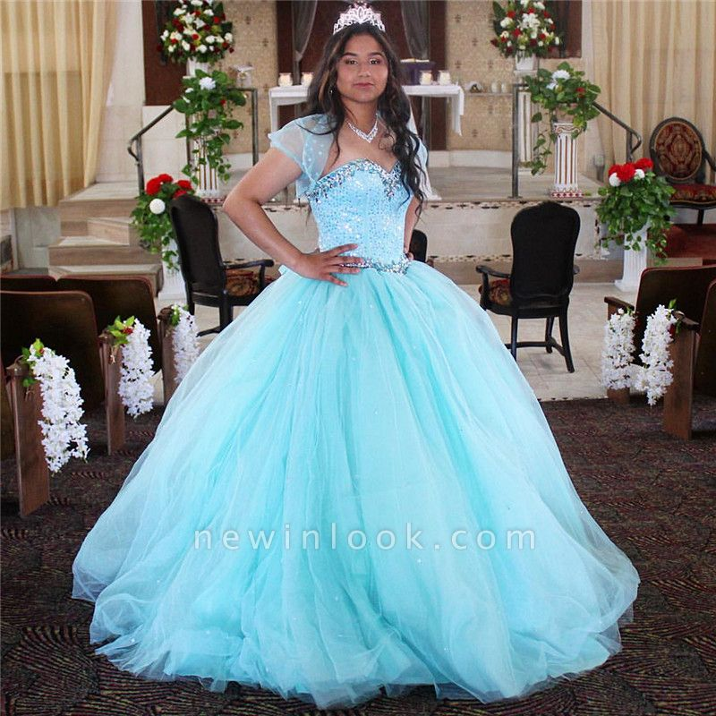 Exquisite Spaghetti Straps Beadings Ball Gown Sweet 16 Dresses | Detachable Jacket Quinceanera Dresses Long