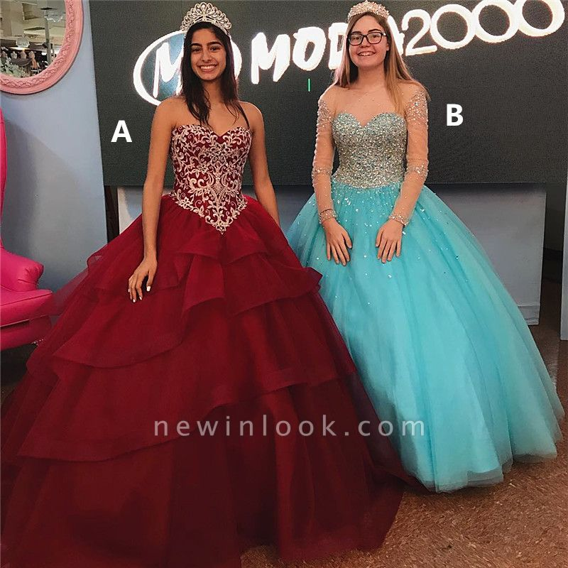 Amazing Ball Gown Quince Dresses | Lace Beadings Sweet 16 Dresses Long