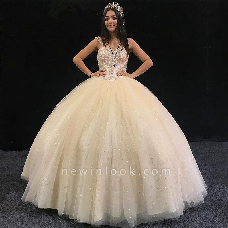 Beautiful Sweetheart Sleeveless Ball Gown Quinceanera Dresses | Beadings Sweet 16 Dresses Long