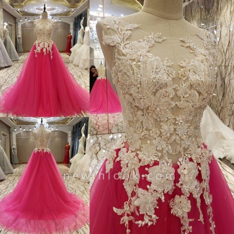 Apliques de encaje Vestidos de quincea_era | Longitud del piso sin mangas Tren largo Tul