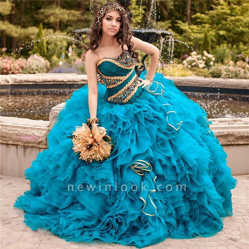 Chic Ball Gown Sweetheart Beading Ruffles Long Quinceanera Dress