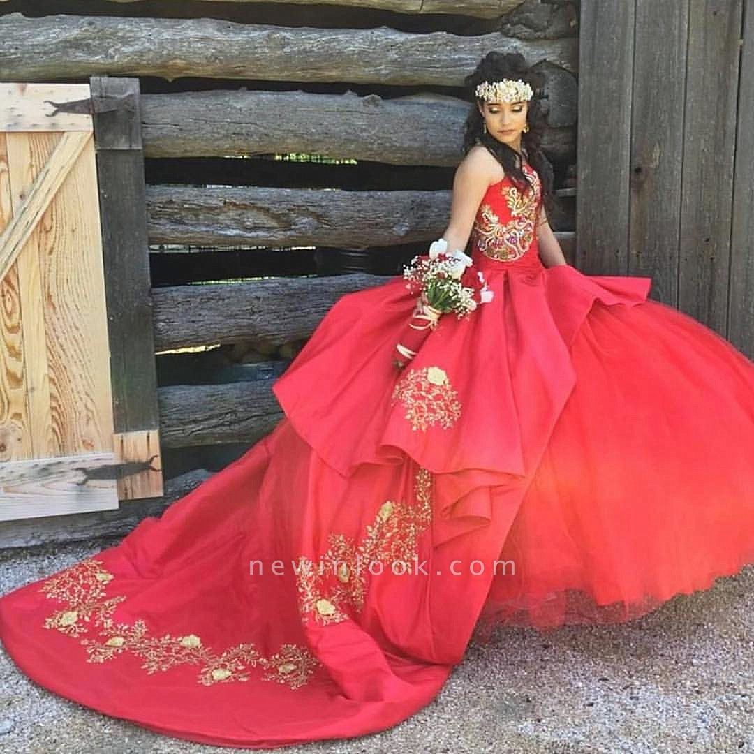 Appliques Strapless Red Sweep Train Ball Gown Quince Dresses