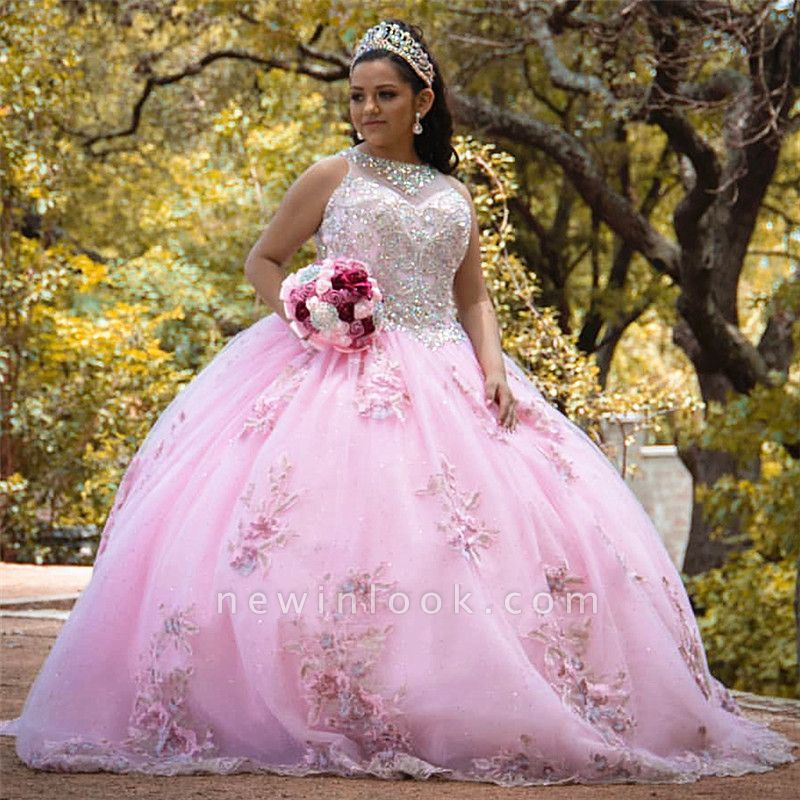 Sleeveless Ball Gown Beading Floral Appliques Pink Quinceanera Dresses