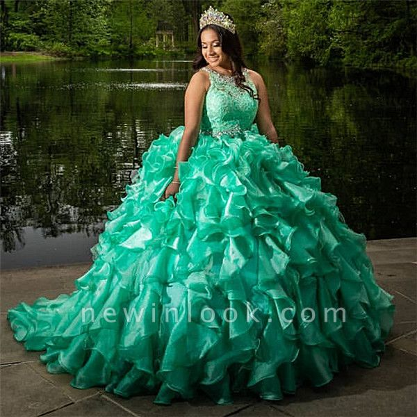 Lace Appliques Sleeveless Green Ruffled Ball Gown Quinceanera Dresses
