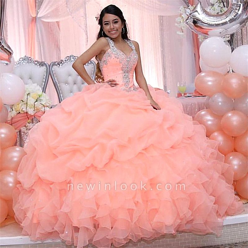 Chic Pink Ball Gown V-neck Spaghetti Crystal Beading Quince Dresses