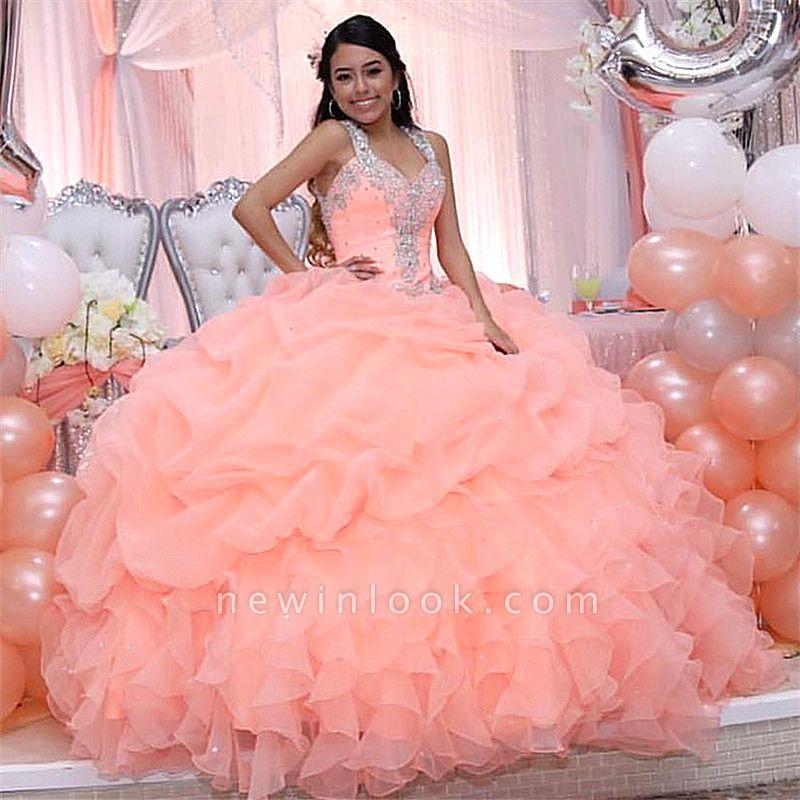 Elegante vestido rosa de bola con cuello en V espagueti de cristal rebordear vestidos de baile