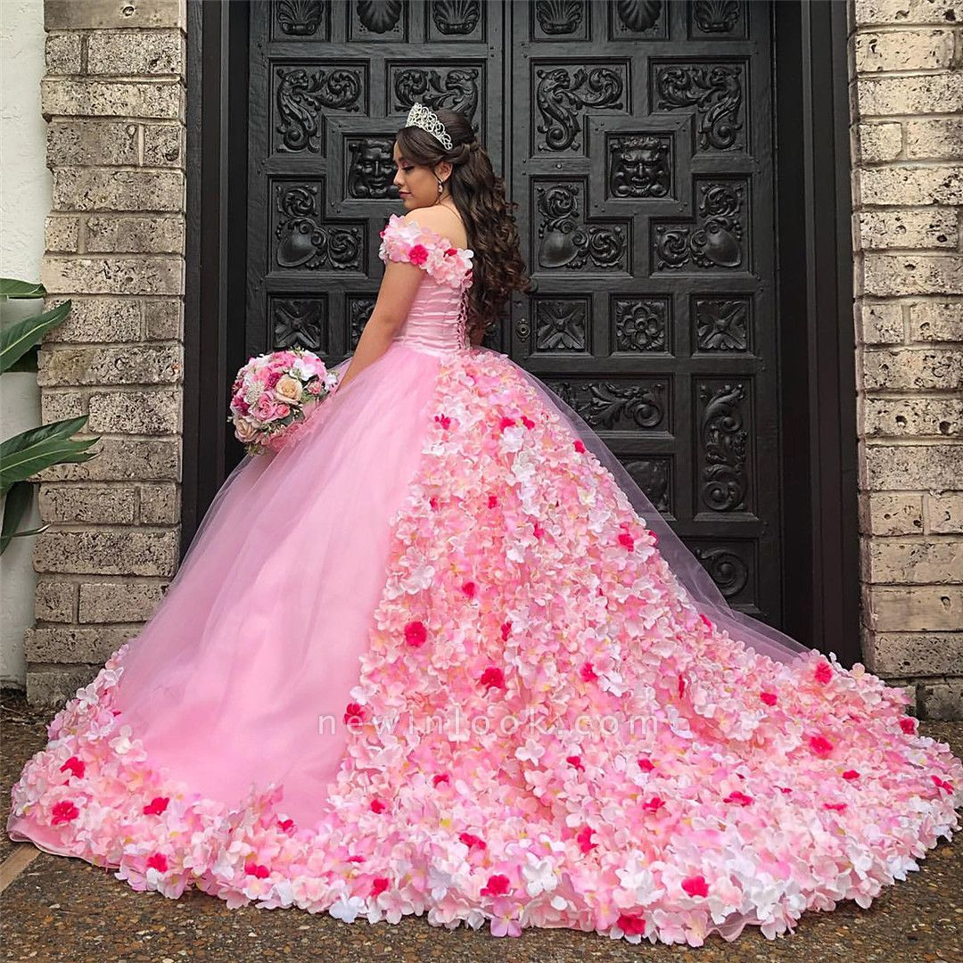 Gorgeous 3-D Floral Off-the-shoulder Brush Train Quinceanera Dresses