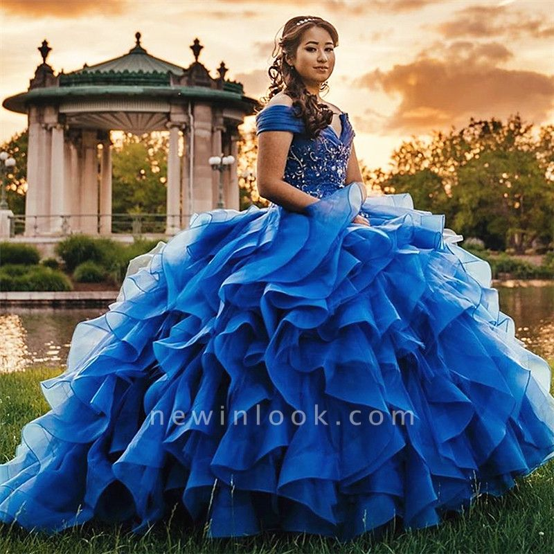 Glamorous Layers Beading Off-the-shoulder Blue Ball Gown Quince Dresses