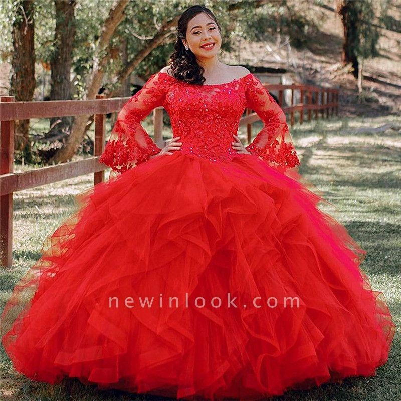 Red Tulle Lace Long Sleeves Off the Shoulder Beading Quinceanera Dress