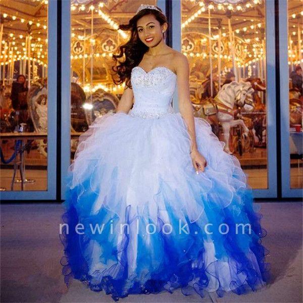 Elegante vestido largo de quinceañera con cuentas de tul y abalorios cariño