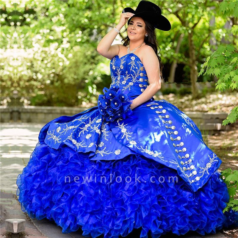Unique Floral Appliqued Strapless Sweetheart Ruffles Tulle Royal Blue Quince Dresses
