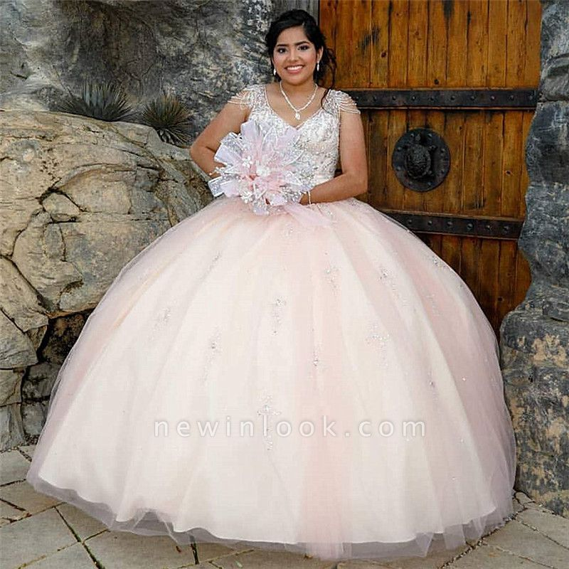 Pretty V-neck Cap Sleeves Beading Long Quinceanera Dresses