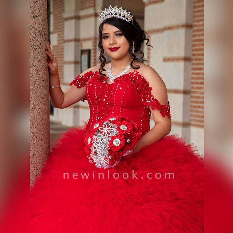 Off-the-shoulder Red Appliques Tulle Court Train Ruffles Quince Dresses