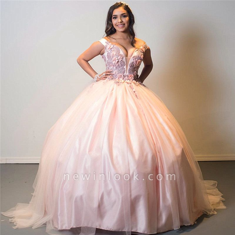 Off-the-shoulder Floral Appliques Ball Gown Pink Quinceanera Dresses