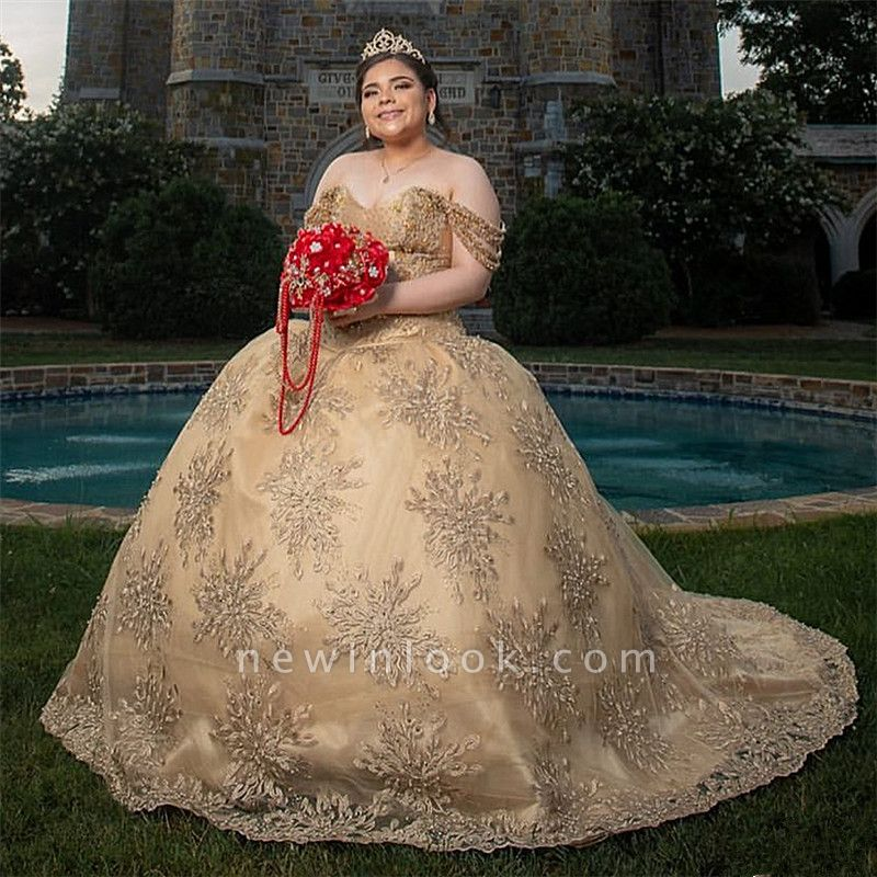 Glamorous Off-the-shoulder Appliques Court Train Quinceanera Dresses