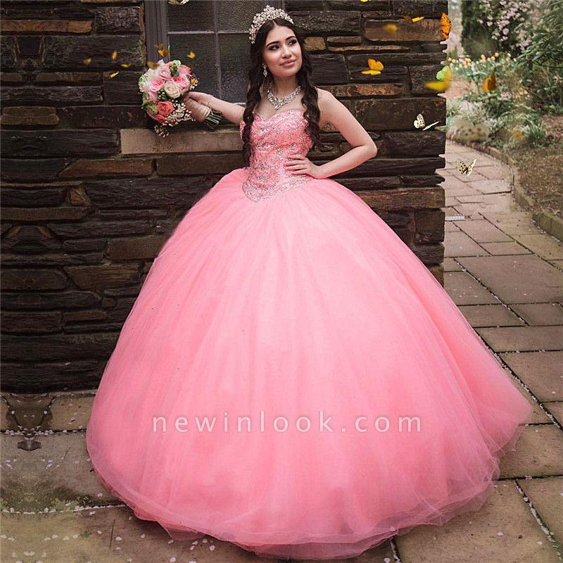 Vestido de fiesta de quinceañera con cuentas sin tirantes y maravilloso vestido de bola de novia de tul