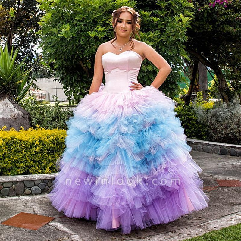 Sweetheart Strapless Layers Pink Blue Gradient Tulle Quince Dresses