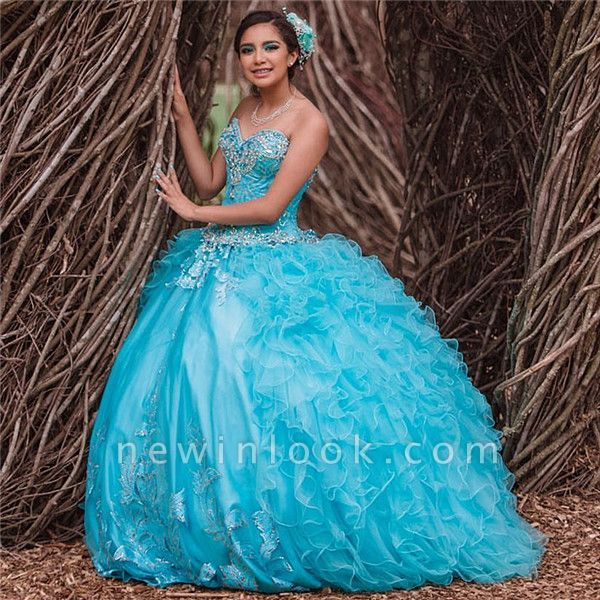 Blue Tulle Sweetheart Appliques Beading Quinceanera Dress
