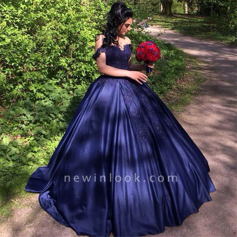 Ball Gown Navy Appliques Off the Shoulder Beading Quinceanera Dress