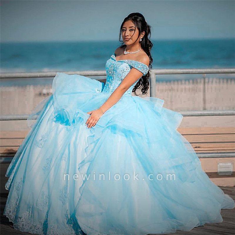 Vestido de bola abalorios de cristal fuera del hombro vestidos de membrillo