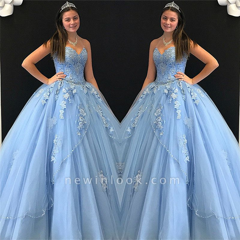 V-neck Strapless Flower Appliques Tulle Quinceanera Dresses