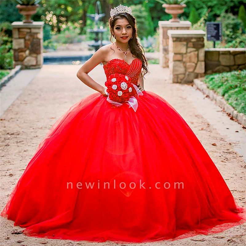 Stylish Sweetheart Beading Appliques Red Quinceanera Dress