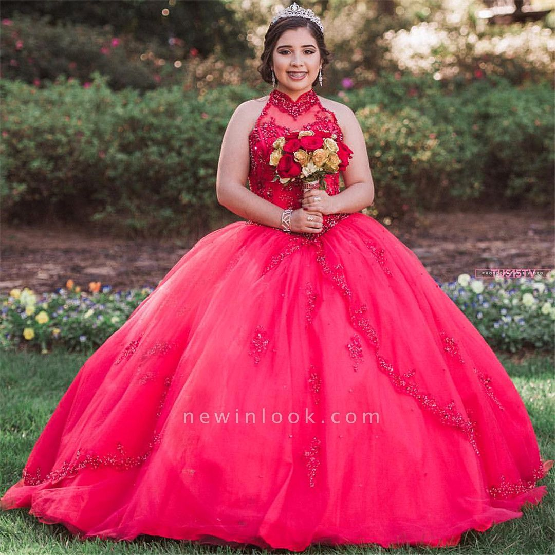Pretty Ball Gown High-Neck Appliques Sleeveless Red Quinceanera Dress