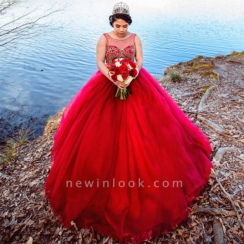 Sleeveless Beading Ball Gown Red Floor Length Quinceanera Dresses