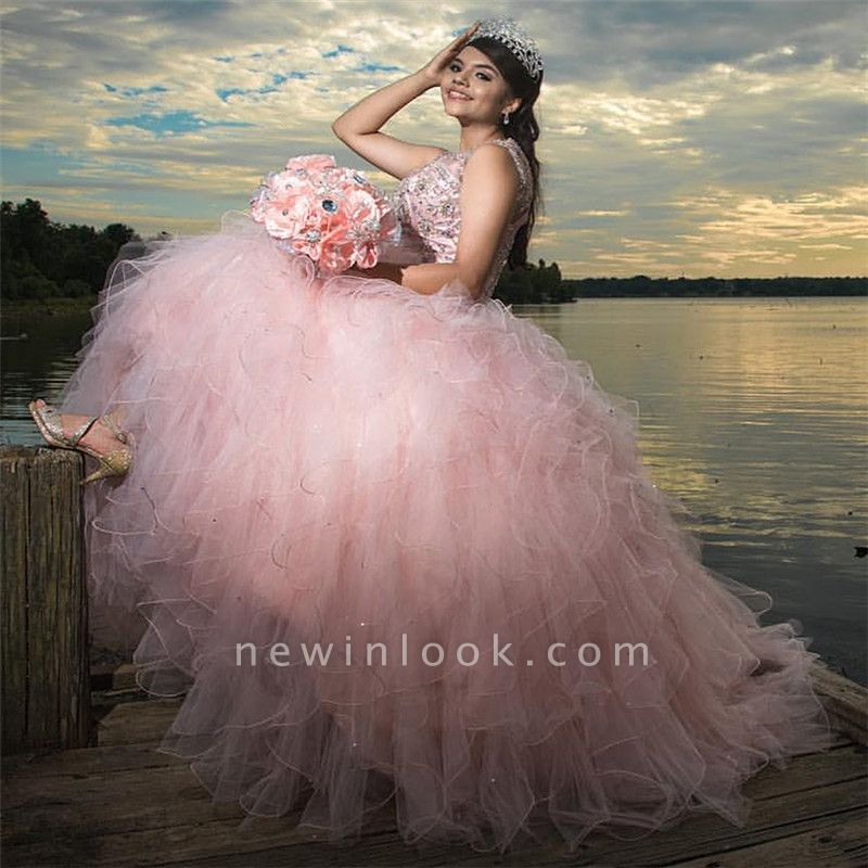 Sleeveless Beading Floor Length Ruffled Tulle Pink Quince Dresses