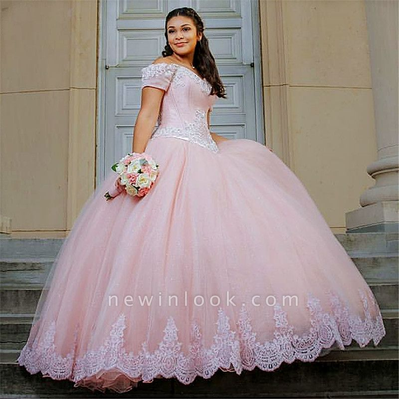 Lovely Lace Appliques Off-the-shoulder Tulle Pink Quinceanera Dresses