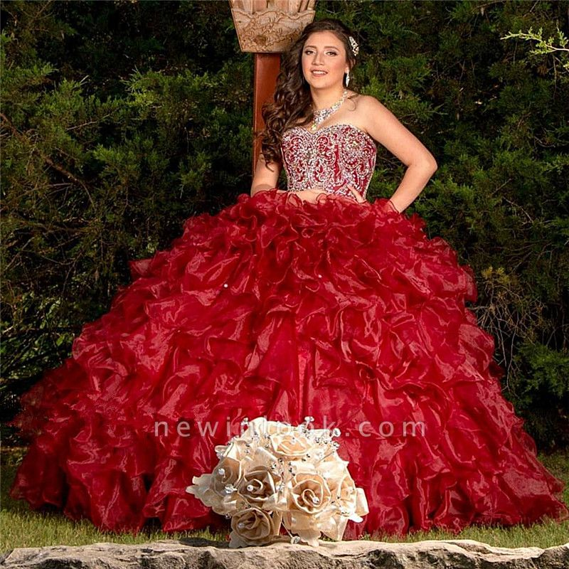 Crystals Sweetheart Strapless Ruffled Burgundy Quince Dresses