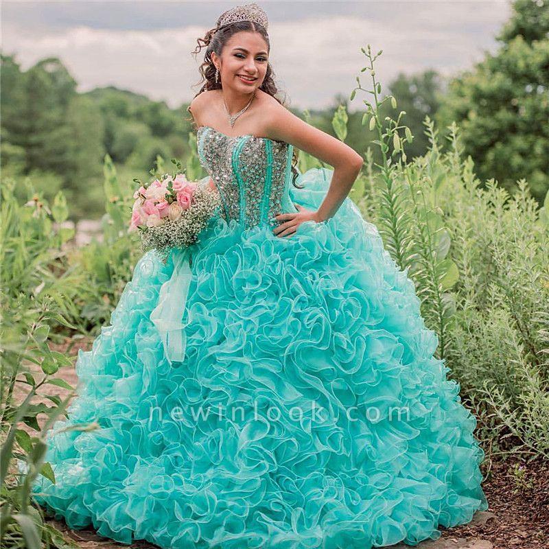 Vestido de fiesta Vestido de novia de quinceañera sin tirantes con volantes