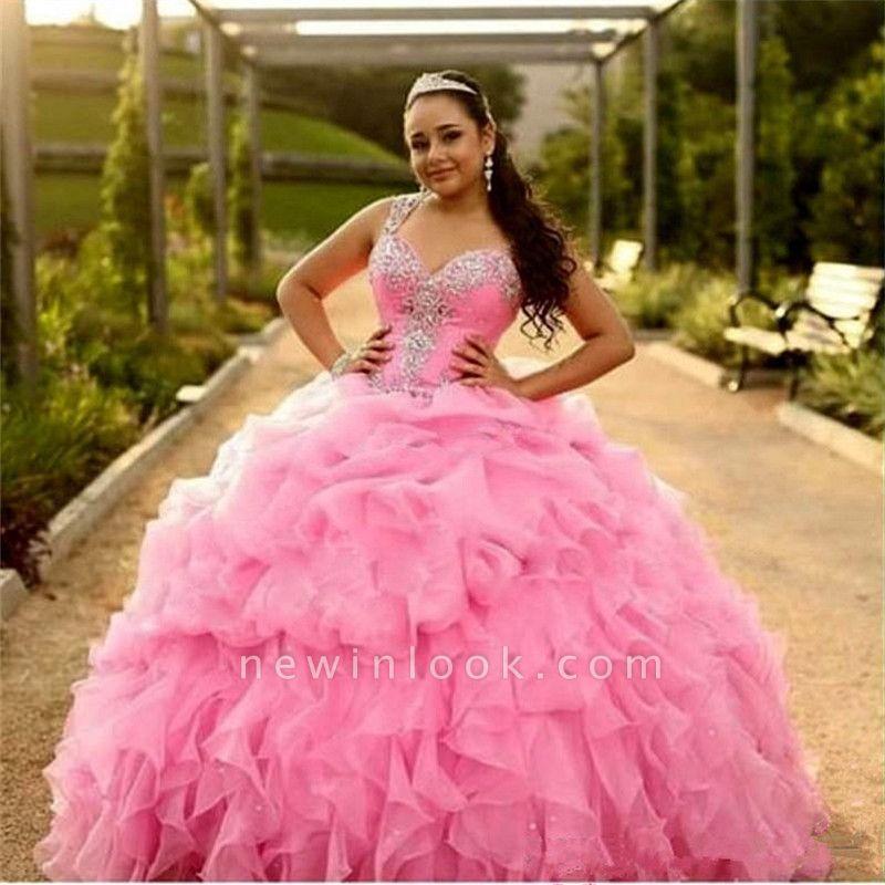 Magníficos cari_o rosa sin mangas apliques vestidos de quincea_era | Vestido de fiesta con volantes y volantes XV