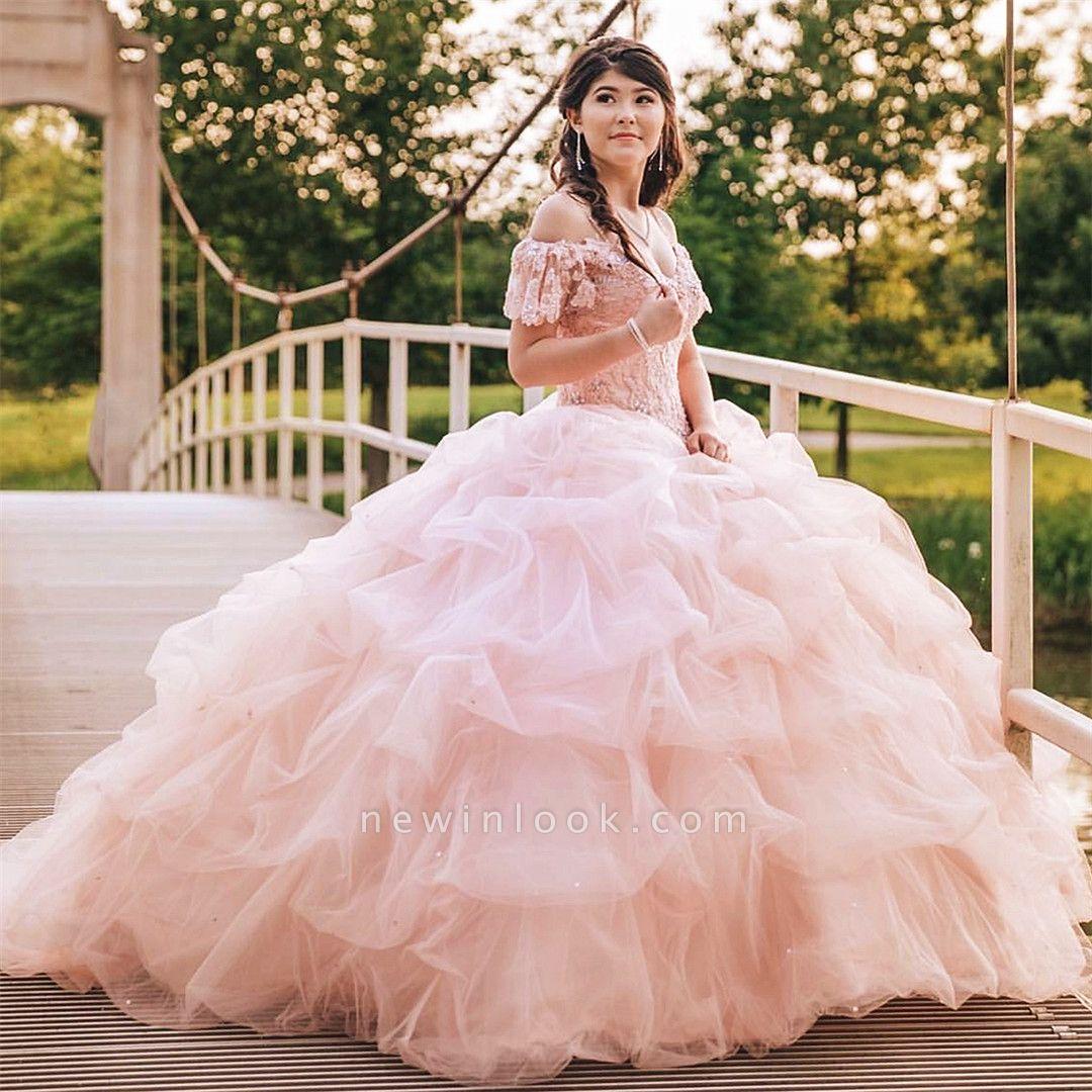 Elegante encaje spaghettis capas de organza rosa vestidos de quinceañera