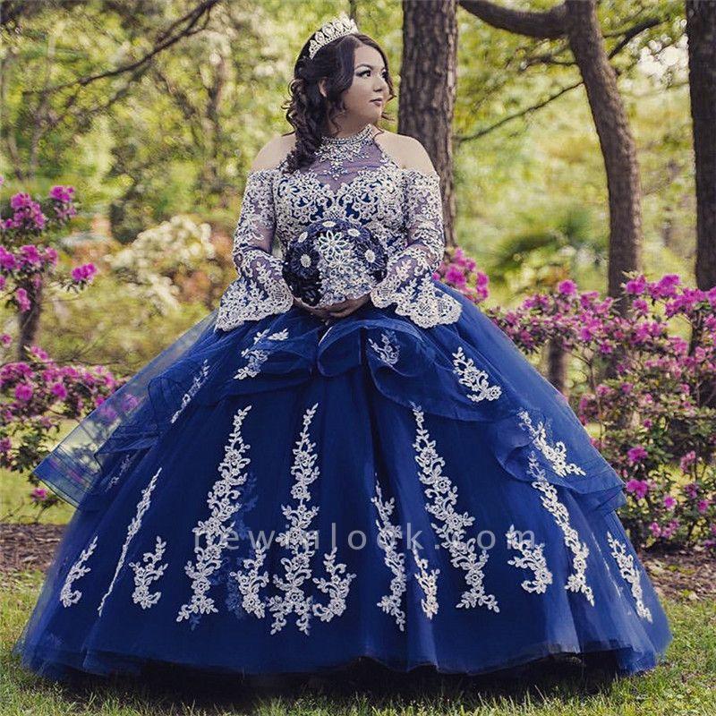 Lace Appliques Open Shoulder Long Sleeves Quince Dresses