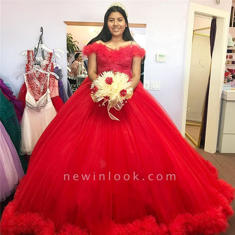 Red Puffy Tulle Ball Gown Off-the-shoulder Long Quinceanera Dresses