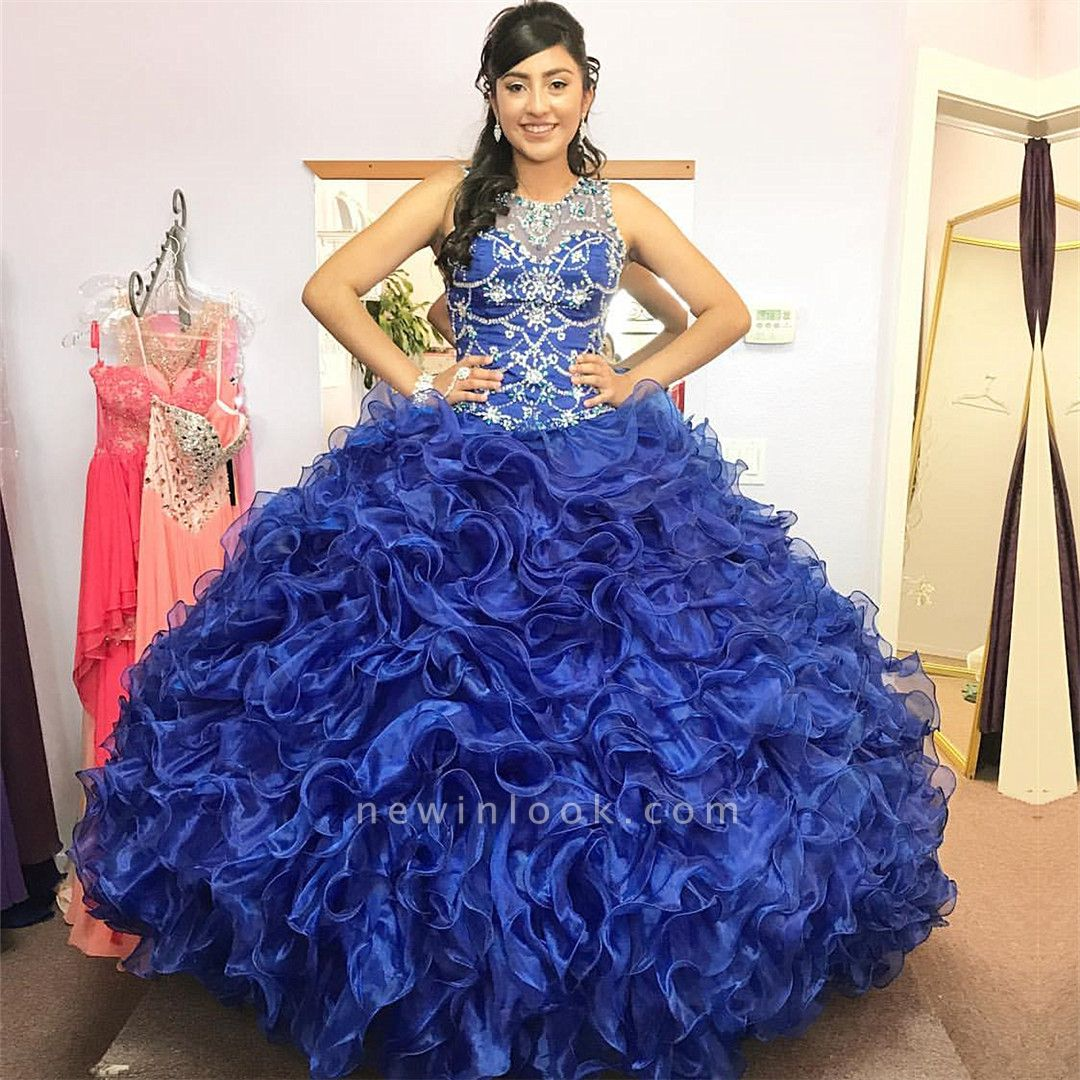 Gorgeous Beading Ruffled Taffeta Sleeveless Blue Quince Dresses