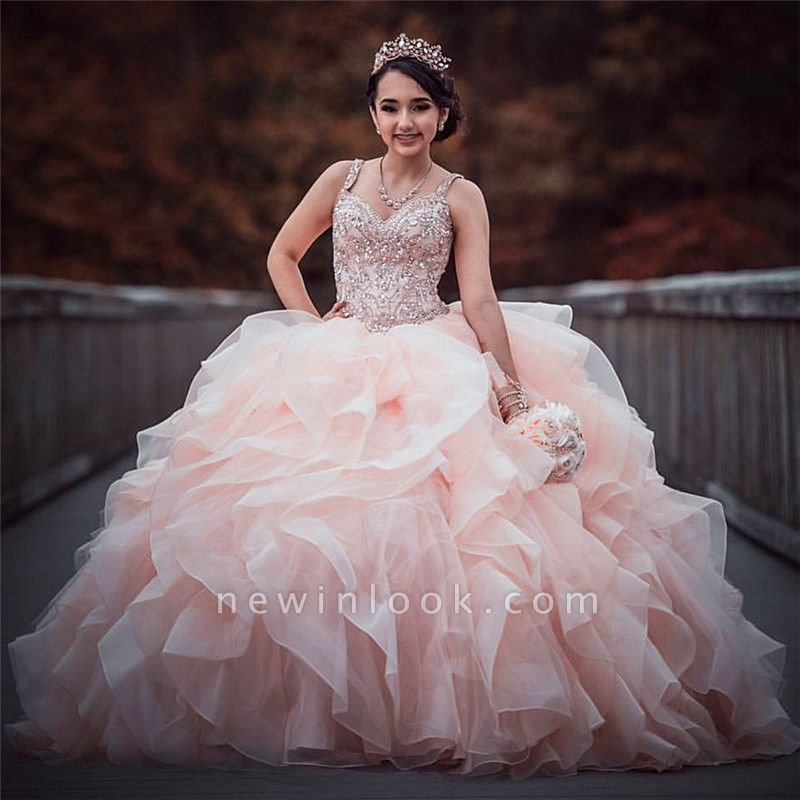 Straps Sweetheart Ruffles Beading Long Quinceanera Dress