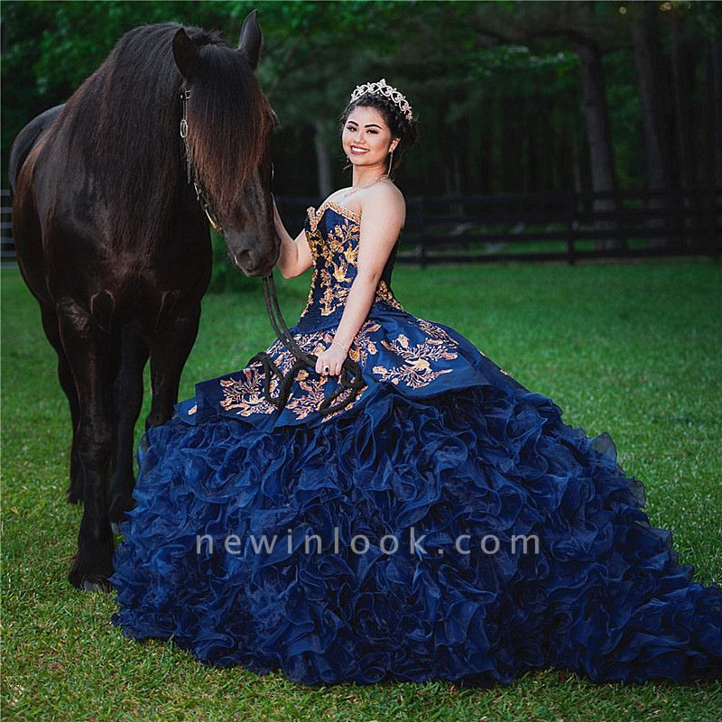 Strapless Golden Appliques Ruffles Dark Navy Quince Dresses