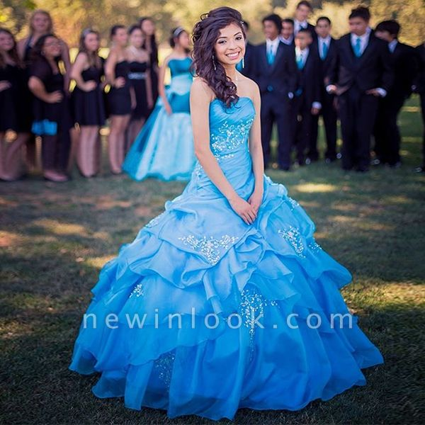 Chic Layers Strapless Beading Appliques Quinceanera Dress
