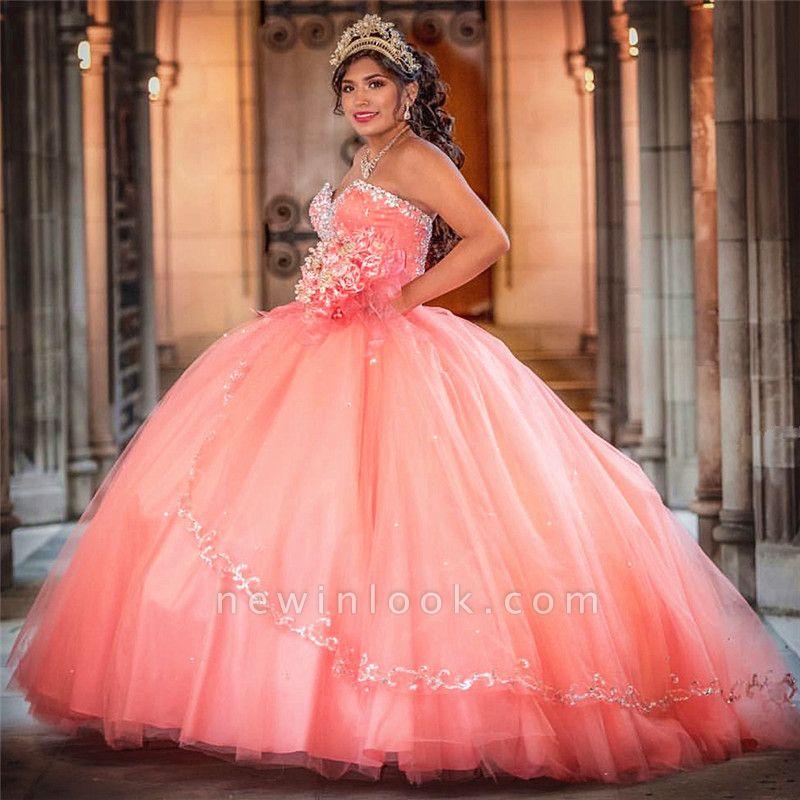 Vestido de fiesta de tul de novia sin mangas con abalorios vestido de quinceañera rosa