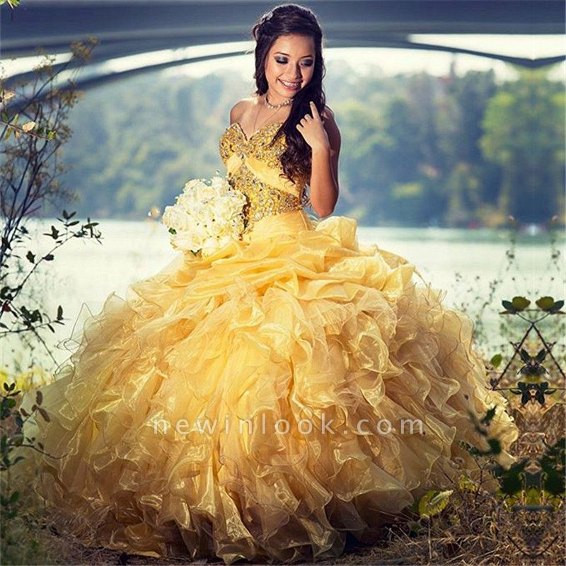 Strapless Sweetheart Beadings Ruffles Quinceanera Dress