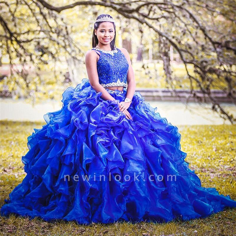 Two-piece Sleeveless Appliques Crystal Beading Taffeta Blue Quince dresses