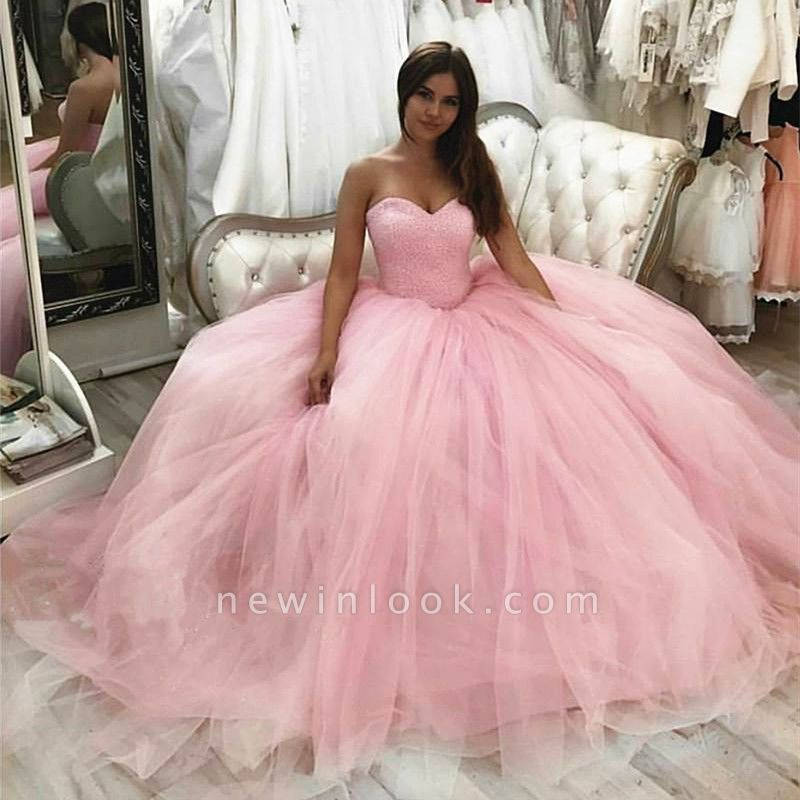 Tulle Strapless Sweetheart Long Quinceanera Dress