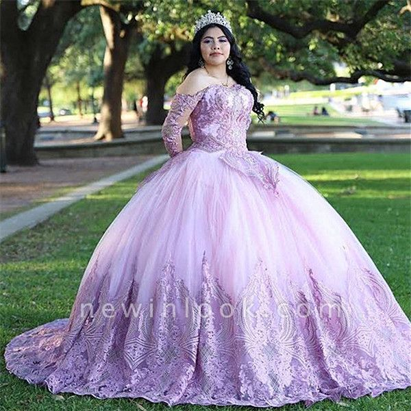Stylish Ball Gown Off the Shoulder Long Sleeves Quinceanera Dress