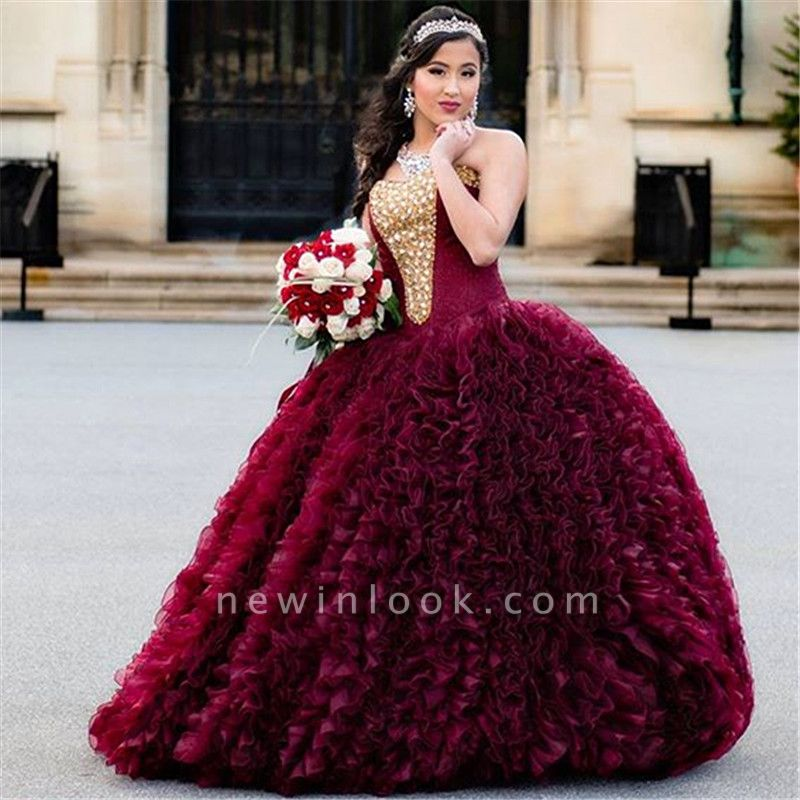 Exquisite Strapless Ruffle Gold Beadings Burgundy Quinceanera Dress