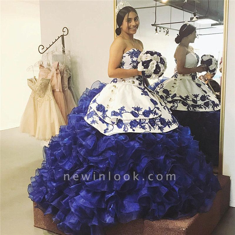 White and Blue Strapless Appliqued Ruffles Quinceanera Dresses