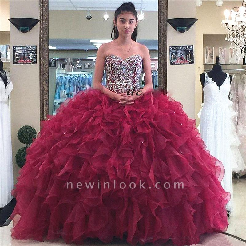 Sweetheart Strapless Crystal Beading Ruffled Burgundy Quinceanera Dresses